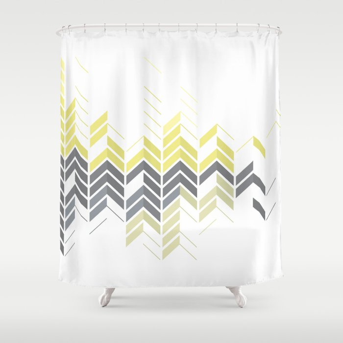 Chevron Sophisticate A Gold Yellow Silver Abstract Pattern Shower Curtain By Michaeltg