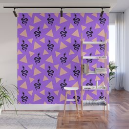 Crawling snakes silhouettes and abstract triangle shapes. Stylish classy whimsical artistic purple lilac retro vintage geometric animal nature pattern. Reptiles. Geometry. Wall Mural