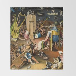 The Garden of Earthly Delights - Bosch - Hell Bird Man Detail Throw Blanket