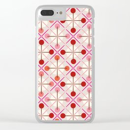 Crosses & Dots (red + pink) Clear iPhone Case