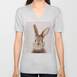 Baby Rabbit, Brown Bunny With Pink Background, Baby Animals Art Print By Synplus Unisex V-Neck