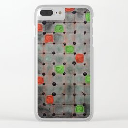 Grid with Green and Orange Highlights Clear iPhone Case