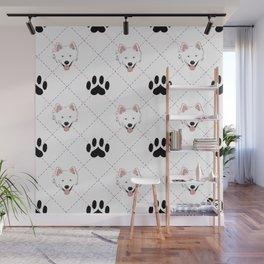 American Eskimo Paw Print Pattern Wall Mural