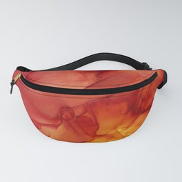 Red Sunset Abstract Ink Painting Red Orange Yellow Flame Fanny Pack
