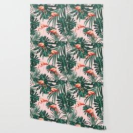 Summer Flamingo Jungle Vibes #1 #tropical #decor #art #society6 Wallpaper