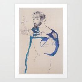 Egon Schiele Gustav Klimt Im Blauen Malerkittel Art Print