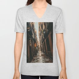Barcelona Alley   Tilted Alleyway Streets in the City High Buildings Charming Moody Architecture  Unisex V-Neck
