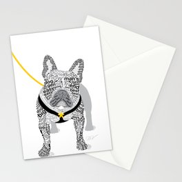 Typographic French Bulldog - Black and White Stationery Cards