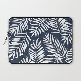 Tropical Palm Leaves - Palm Leaf Pattern - Navy Blue Laptop Sleeve