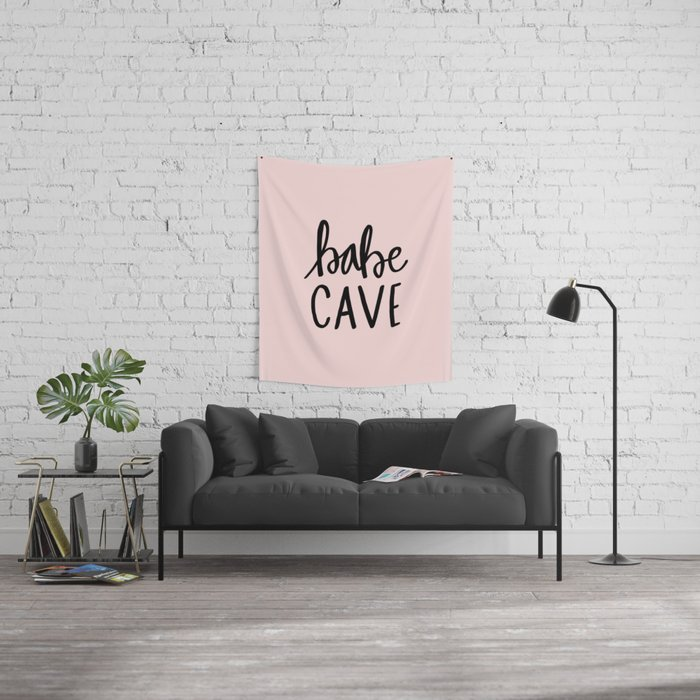 Pink and black babe cave typography Wall Tapestry