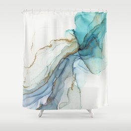 Abstract Jellyfish Alcohol Ink Painting Shower Curtain