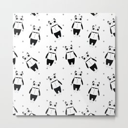 Black and white panda dotted pattern Metal Print
