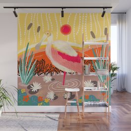Roseate Spoonbill in the Sunset Wall Mural