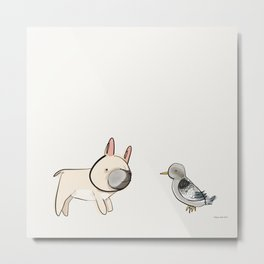 George the Frenchie and a NYC Pigeon Metal Print