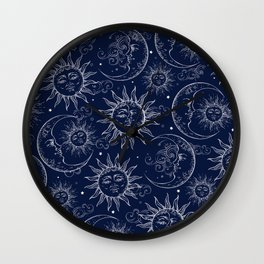 Blue Magic Celestial Sun Moon Stars Wall Clock