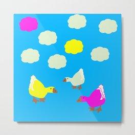 Cute Geese and Clouds Metal Print