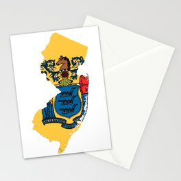 New Jersy Map with State Flag Stationery Cards