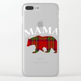 Mama Bear Red Plaid for Mom Mommy or Mother Clear iPhone Case