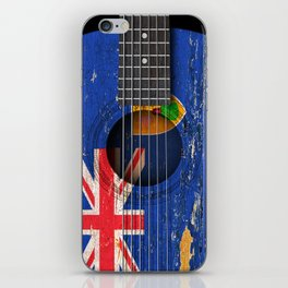 Old Vintage Acoustic Guitar with Turks and Caicos Flag iPhone Skin