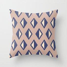 Diamond Pattern Beige and Blue Throw Pillow