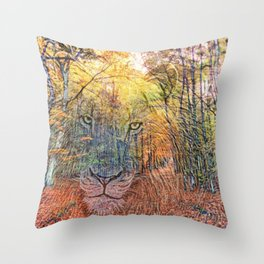 Lion in Woods Mix Throw Pillow