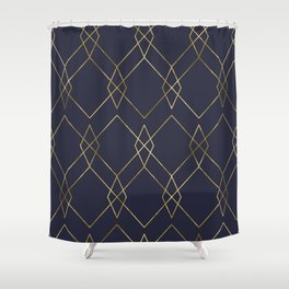 Gold Geometric Navy Blue Shower Curtain