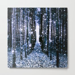 Magical Forest Dark Blue Elegance Metal Print