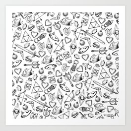 Zelda A Collection of Items Pattern Art Print