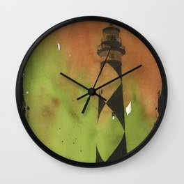 Cape Lookout lighthouse on the Outer Banks, North Carolina.  Watercolor painting Wall Clock