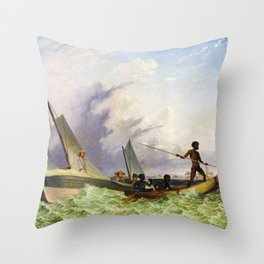 Long Boat off the Coast of Africa by Thomas Baines Throw Pillow