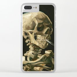 Van Gogh Head of a skeleton with a burning cigarette Clear iPhone Case