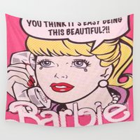 barbie Wall Tapestries featuring Barbie by LuxuryLivingNYC