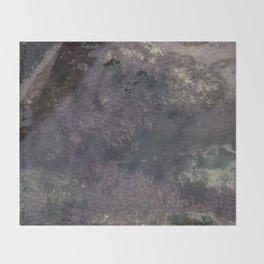 Underwater Rock Pool with Purple Seaweed Throw Blanket