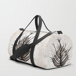 Abstract Hairy Leaf Art In Sepia Duffle Bag