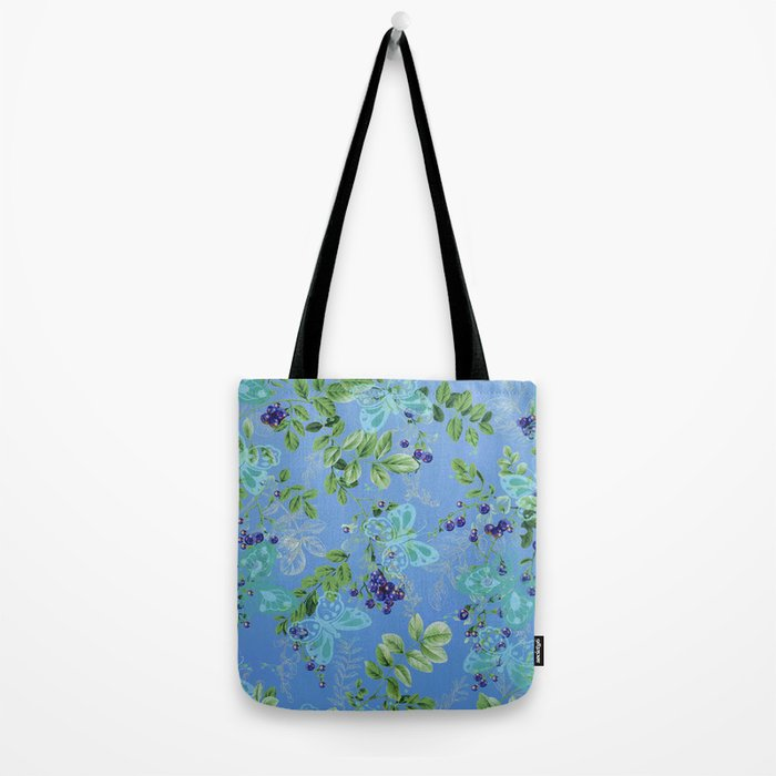 blueberries and butterflies Tote Bag