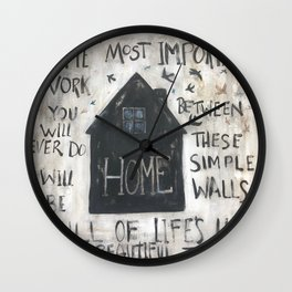 Home between these walls Wall Clock