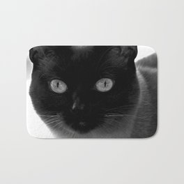 Siamese cat, black and white photography Bath Mat