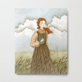 Girl with a book Metal Print