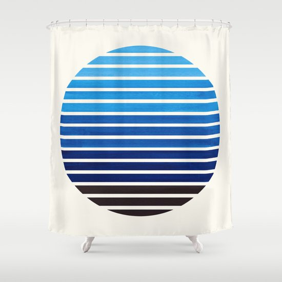 Minimalist Outdoor Contemporary Curtains Prussian Blue Mid Century Modern Minimalist Scandinavian Colorful Stripes Geo