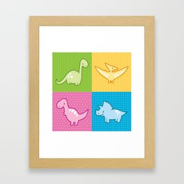 Colorful dinosaurs and pterodactyl cheater quilt Framed Art Print
