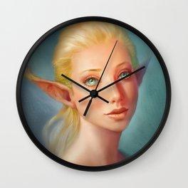Blonde elfgirl portrait Wall Clock