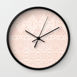 Vintage Distressed Lace Pattern - Blush Pink / Peach / Cream Wall Clock