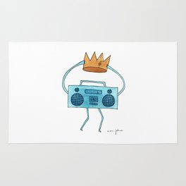 boombox holding a paper crown Rug