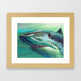 Tiger Shark Portrait Framed Art Print