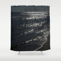 sparkles Shower Curtains featuring Ocean Sparkles by ErinaBoulch