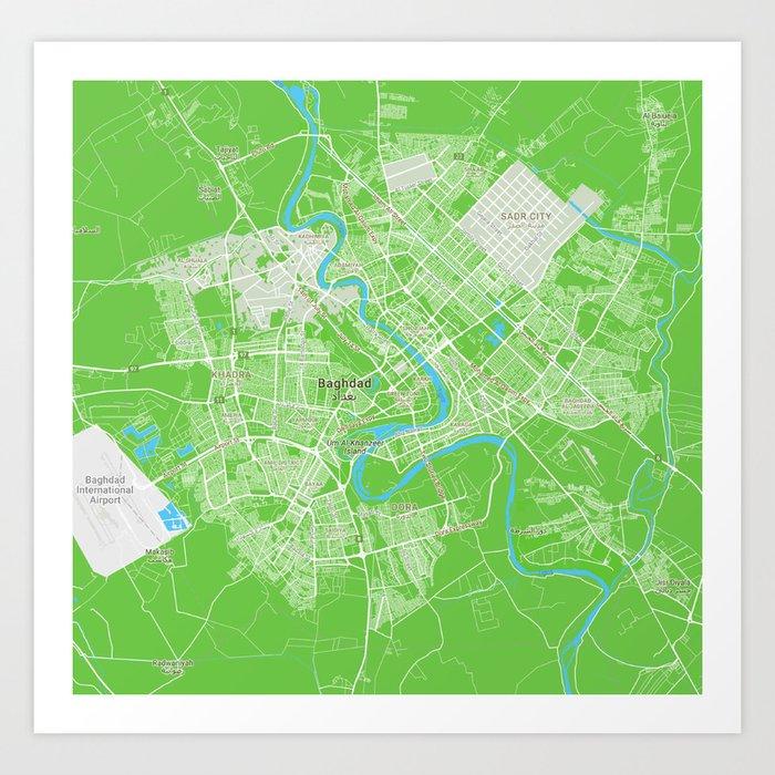 Minimalist Modern Map of Baghdad, Iraq 6 Art Print by asarstudios ...