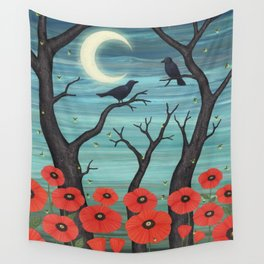 crows, fireflies, and poppies in the moonlight Wall Tapestry