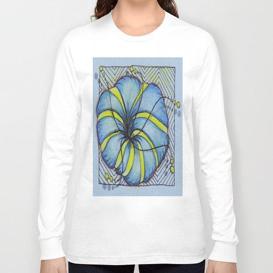 Blue and Yellow Zentangle Flower Long Sleeve T-shirt