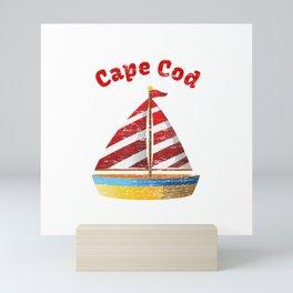 Distressed Cape Cod Massachusetts Sailing Sail Boat T-Shirt Mini Art Print