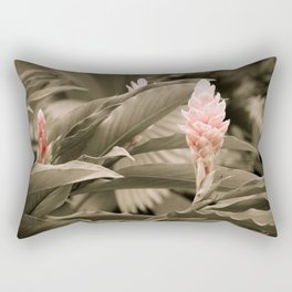 Ginger Plant in Black, White, Pink - Exotic, Tropical Rectangular Pillow